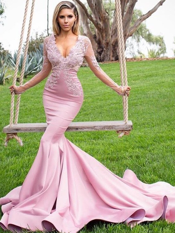 Trumpet/Mermaid V-neck Long Sleeves Applique Satin Sweep/Brush Train Dresses