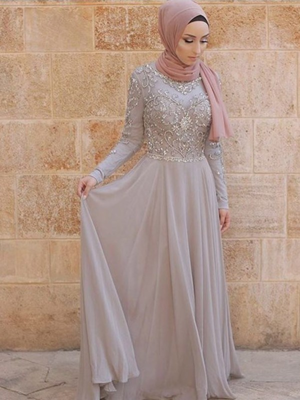 A-Line/Princess Scoop Long Sleeves Crystal Tulle Sweep/Brush Train Muslim Dresses