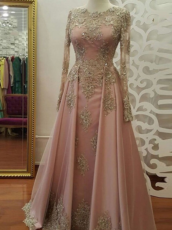 A-Line/Princess Scoop Long Sleeves Floor-Length Applique Tulle Muslim Dresses
