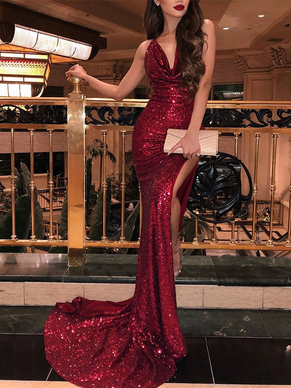 Trumpet/Mermaid V-neck Sleeveless Sequins Sweep/Brush Train Ruffles Dresses
