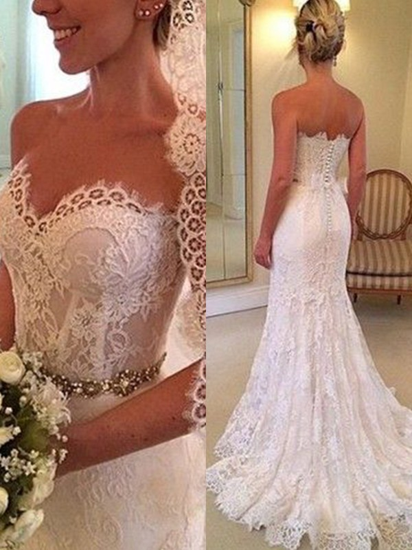 Sheath/Column Sweetheart Sleeveless Beading Lace Sweep/Brush Train Wedding Dresses