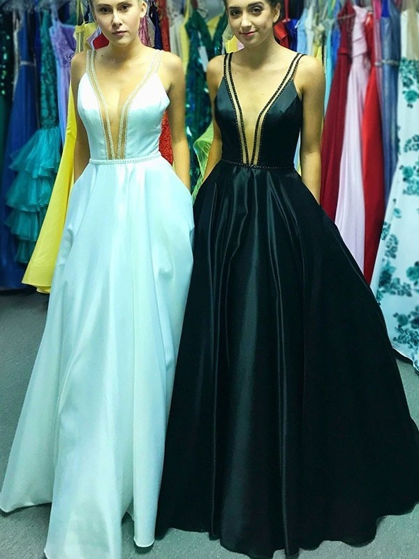 A-Line/Princess V-neck Sleeveless Ruffles Floor-Length Satin Dresses