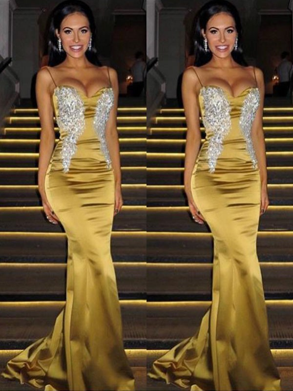 Trumpet/Mermaid Spaghetti Straps Sleeveless Satin Sweep/Brush Train Beading Dresses