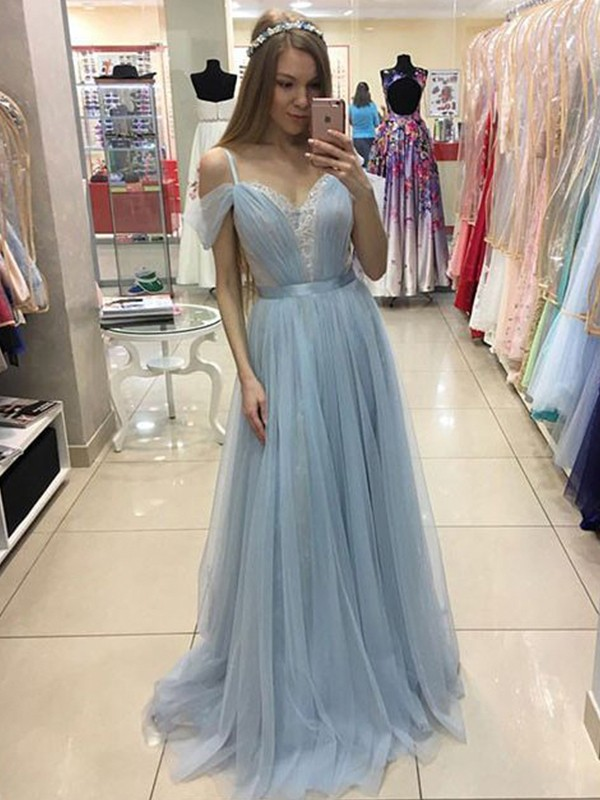 A-Line/Princess Spaghetti Straps Tulle Sleeveless Ruffles Sweep/Brush Train Dresses