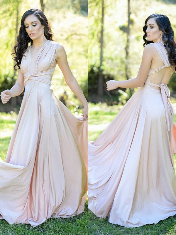 A-Line/Princess Silk like Satin Ruffles V-neck Sleeveless Floor-Length Bridesmaid Dresses