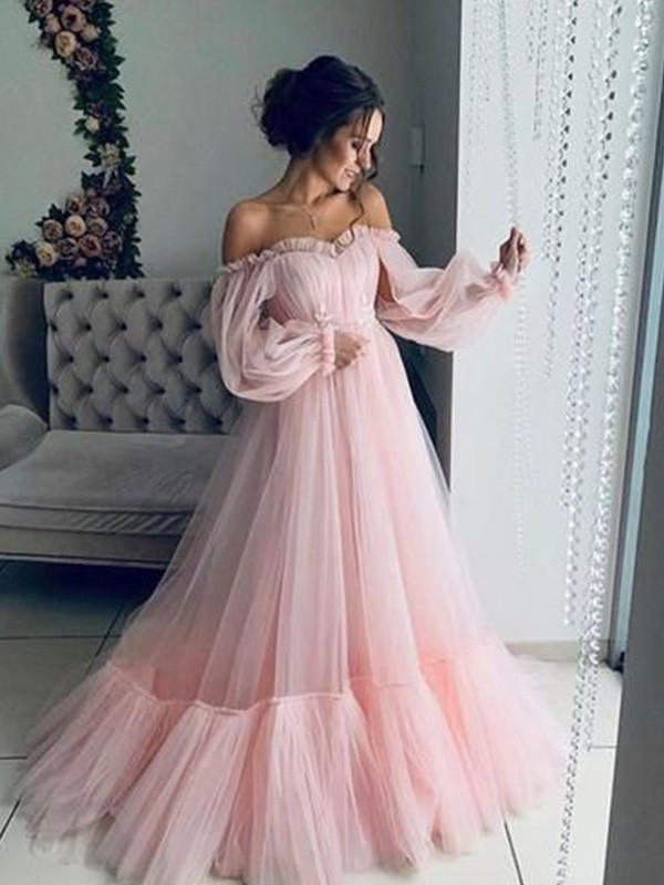 A-Line Off-the-Shoulder Tulle Long Sleeves Applique Long Dresses