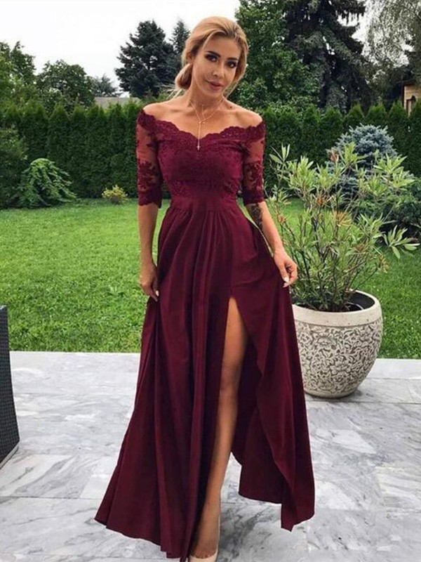 A-Line Off-the-Shoulder Satin Applique 1/2 Sleeves Long Dresses