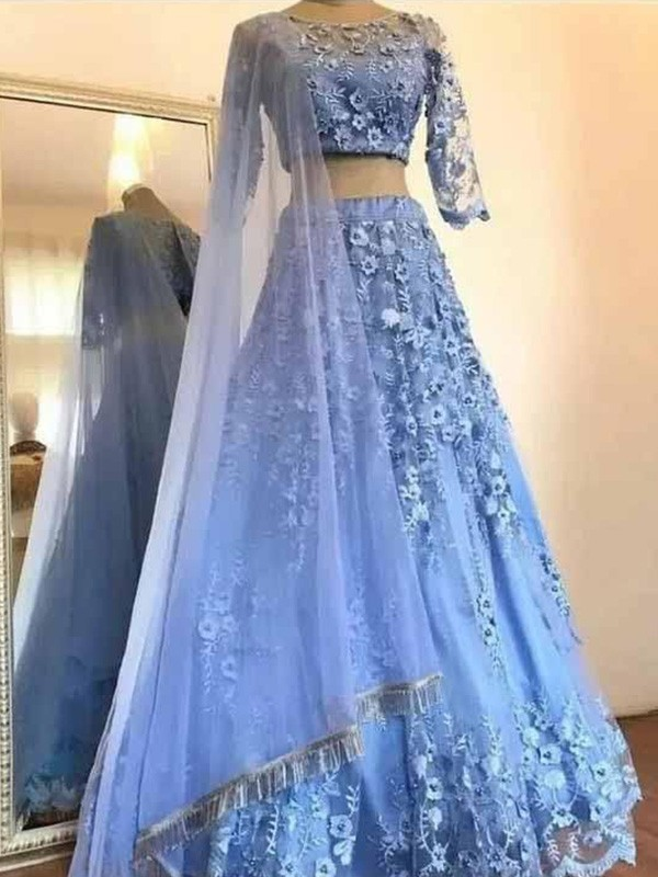 A-Line Scoop Tulle Applique 3/4 Sleeves Long Two Piece Dresses
