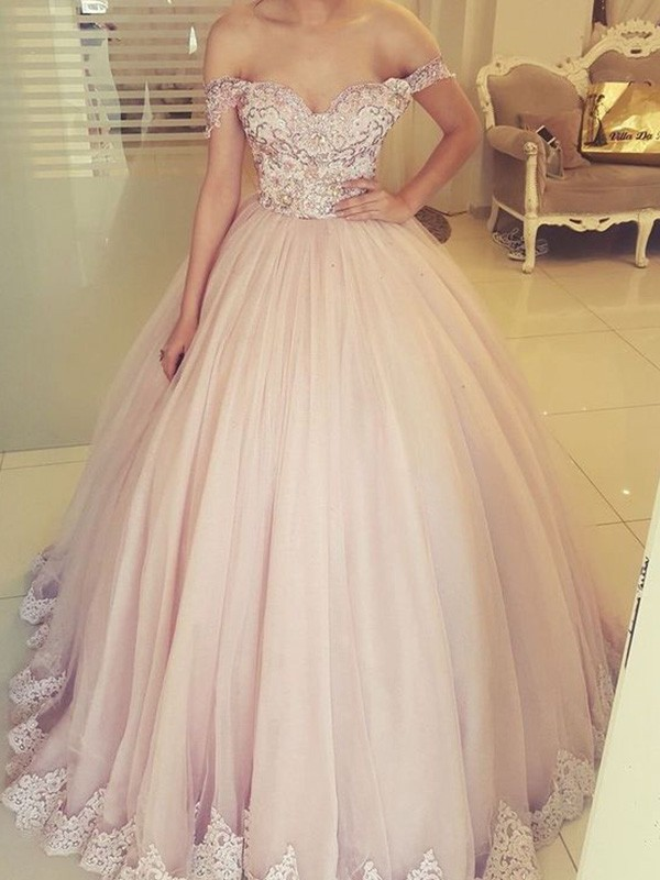 Ball Gown Off-the-Shoulder Tulle Applique Floor-Length Sleeveless Dresses