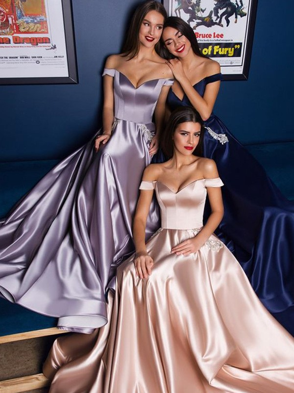 A-Line Satin Off-the-Shoulder Ruffles Sleeveless Long Formal Ball Dress