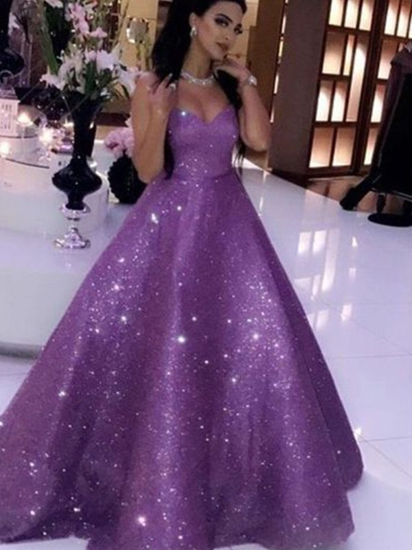 Ball Gown Sequins Sweetheart Neckline Sleeveless Ruffles Sweep/Brush Train Dresses