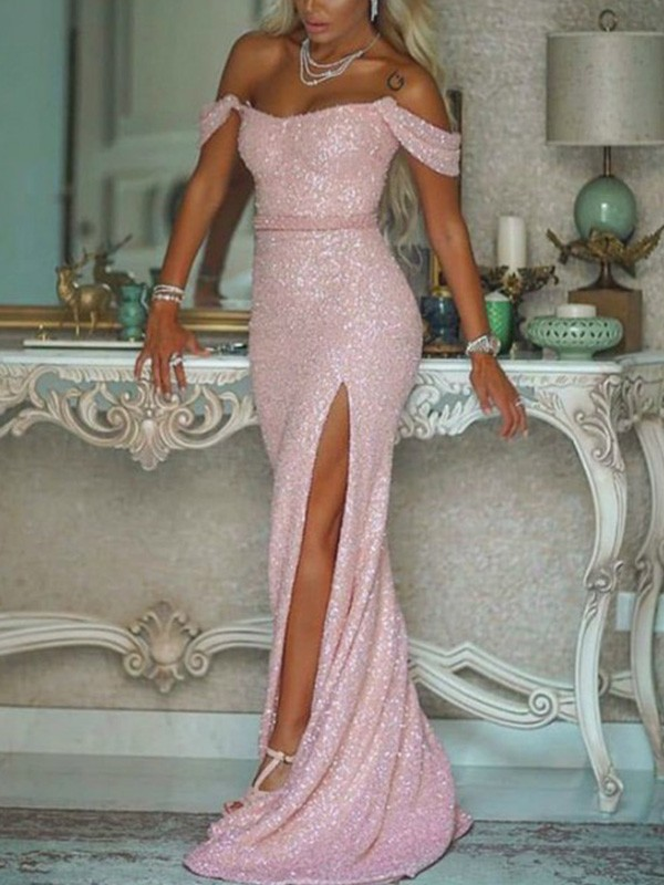 Mermaid/Trumpet Off-the-Shoulder Sequins Sleeveless Sash/Ribbon/Belt Long Dresses