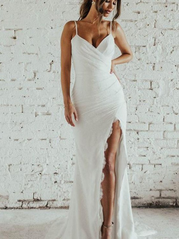 Sheath/Column Spaghetti Straps Ruched Sleeveless Chiffon Long Wedding Dresses