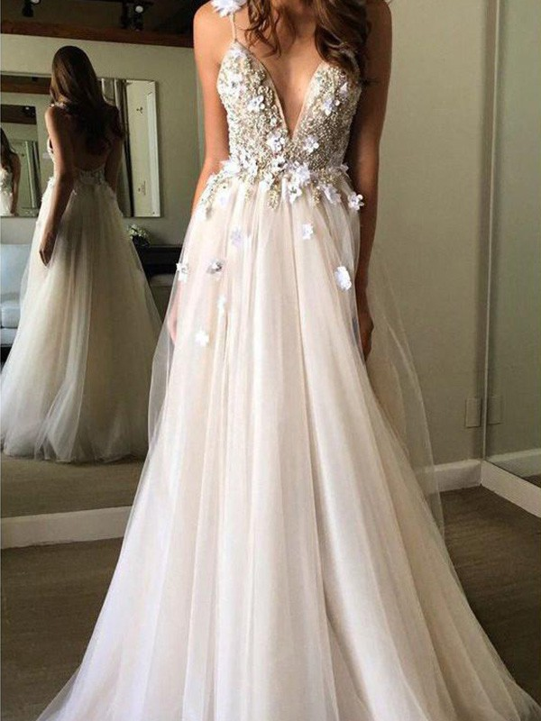 A-Line Tulle V-neck Sleeveless Floor-Length Wedding Dresses with Beading