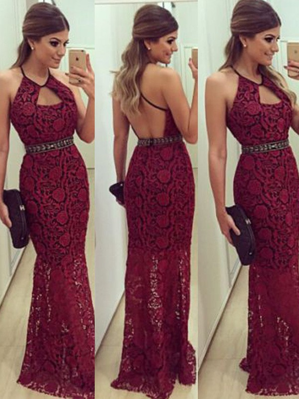 Lace Sheath/Column Sleeveless Beading Floor-Length Halter Dresses