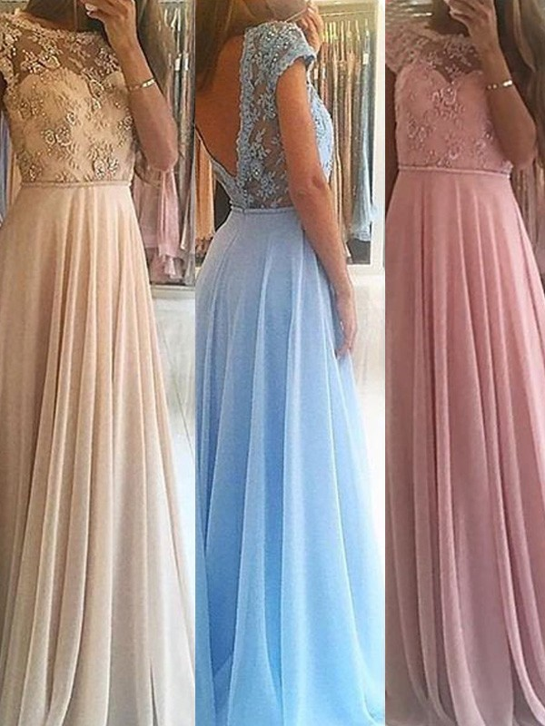 Sleeveless A-Line/Princess Scoop Floor-Length Beading Chiffon Dresses