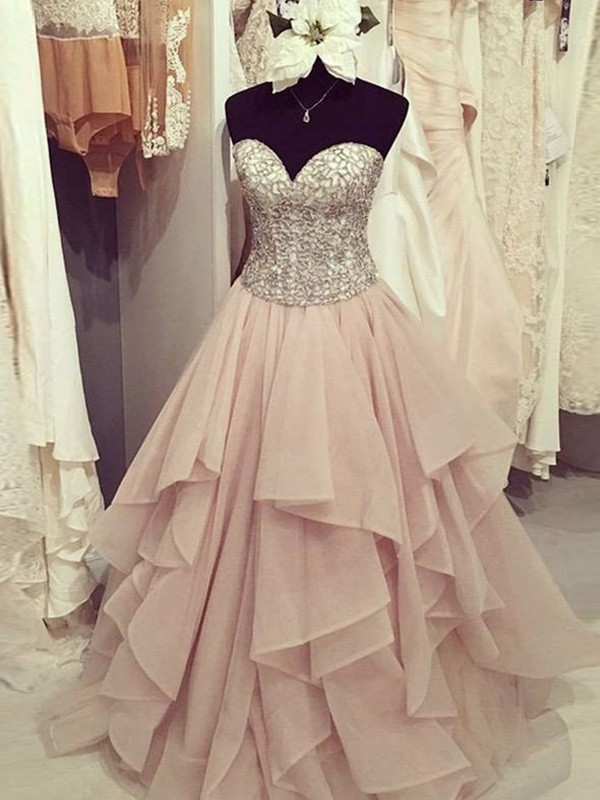 A-Line/Princess Floor-Length Sweetheart Sleeveless Beading Chiffon Dresses