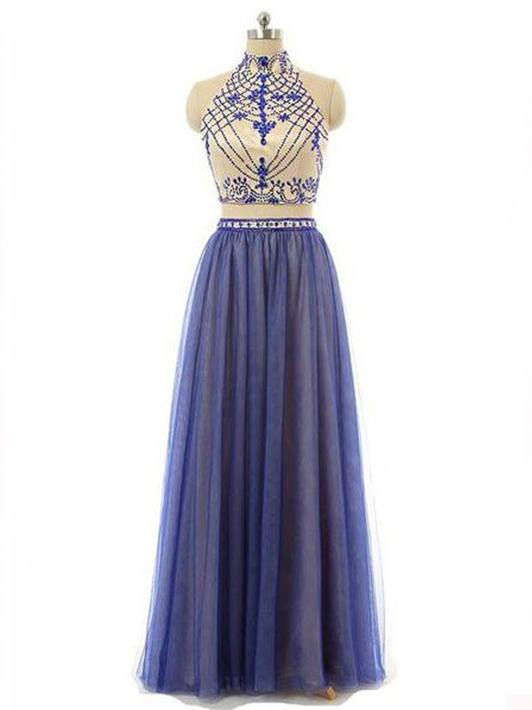 Sleeveless A-Line/Princess High Neck Chiffon Beading Floor-Length Two Piece Dresses