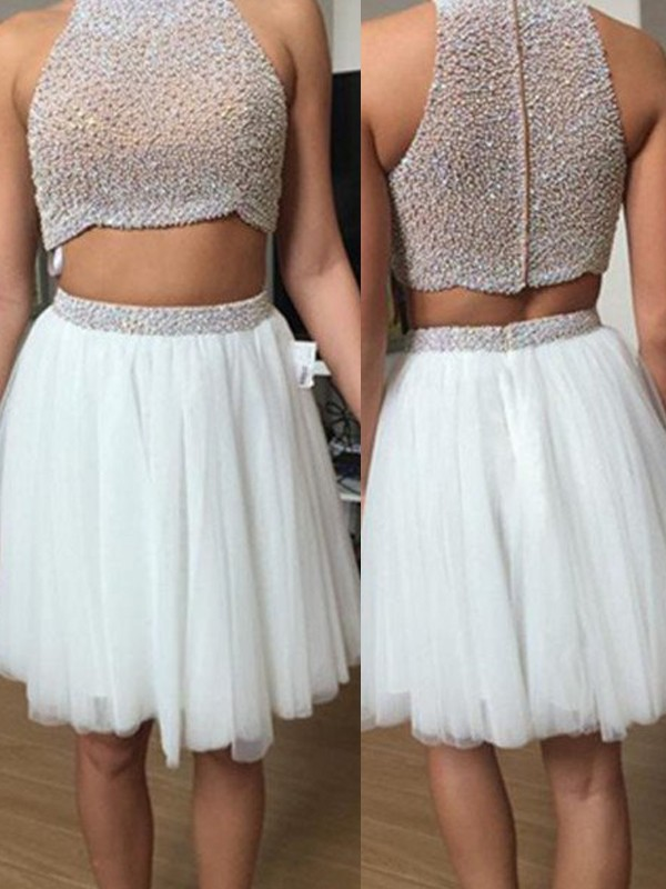 High Neck A-Line/Princess Sleeveless Tulle Beading Short/Mini Two Piece Dresses