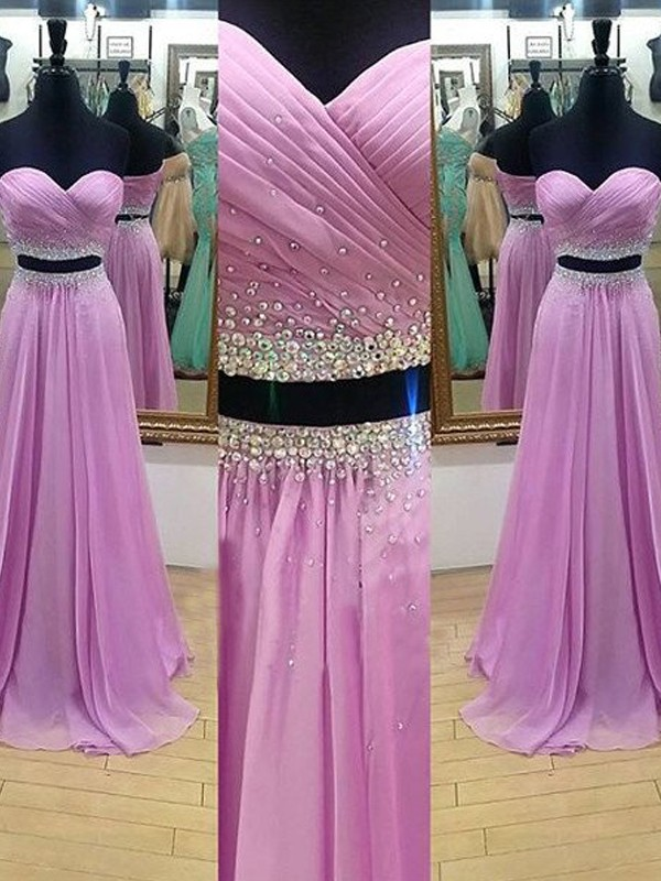 Sweetheart A-Line/Princess Sleeveless Floor-Length Beading Chiffon Two Piece Dresses