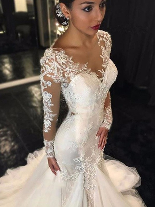 V-neck Trumpet/Mermaid Long Sleeves Lace Court Train Tulle Wedding Dresses