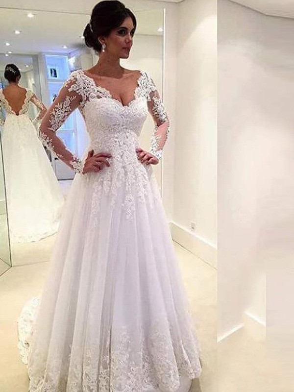 Ball Gown V-neck Long Sleeves Sweep/Brush Train Tulle Lace Wedding Dresses