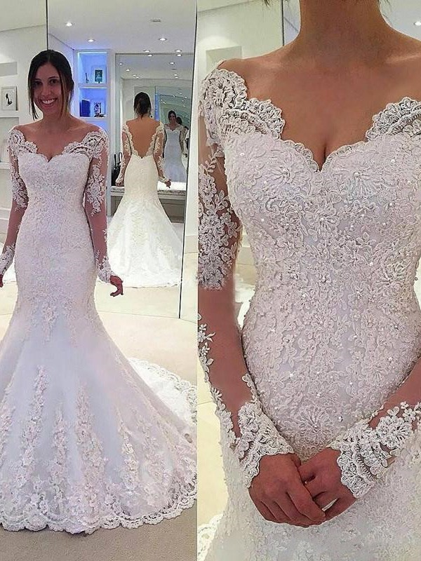 Trumpet/Mermaid Long Sleeves V-neck Lace Court Train Tulle Wedding Dresses