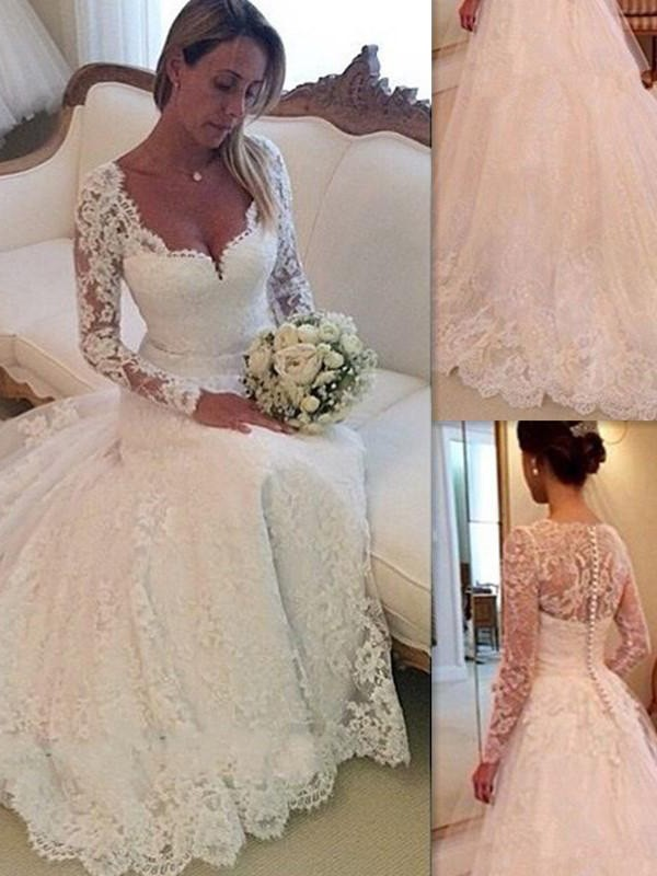 Ball Gown V-neck Long Lace Court Train Sleeves Tulle Wedding Dresses