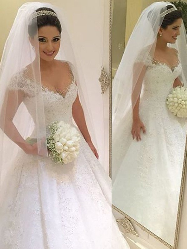 Ball Gown Sleeveless V-neck Floor-Length Tulle Beading Wedding Dresses