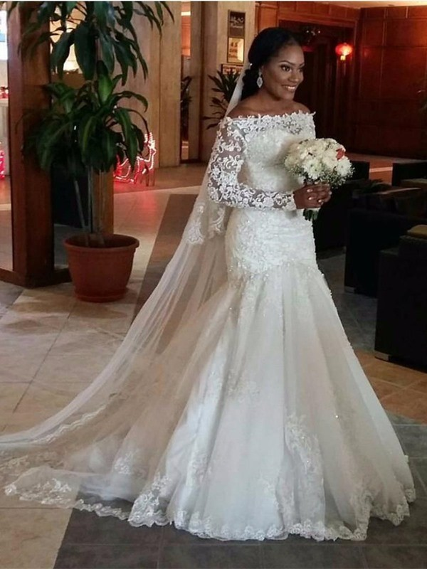 Trumpet/Mermaid Off-the-Shoulder Sweep/Brush Train Long Sleeves Lace Tulle Wedding Dresses