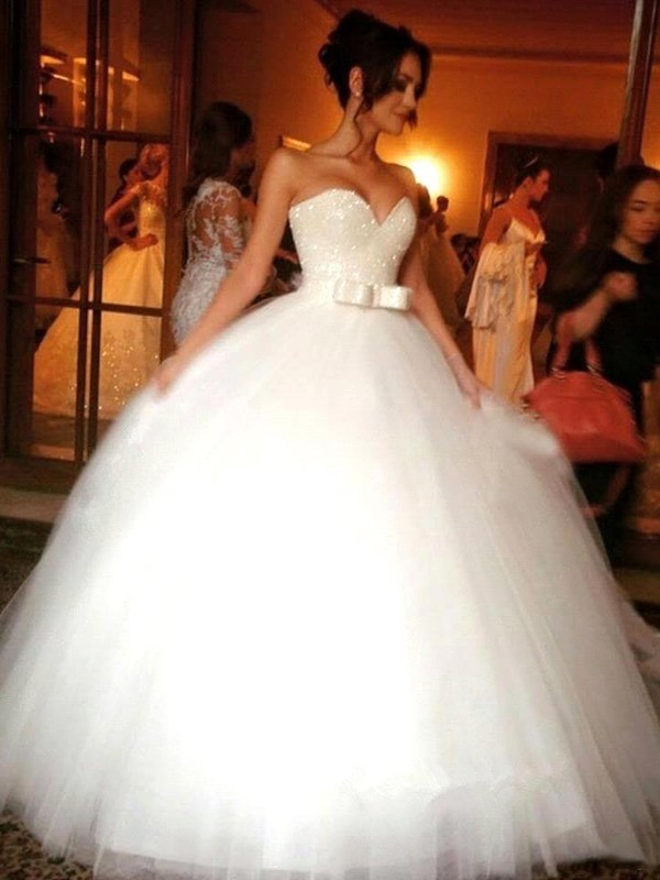 Sweetheart Ball Gown Bowknot Tulle Sleeveless Floor-Length Wedding Dresses