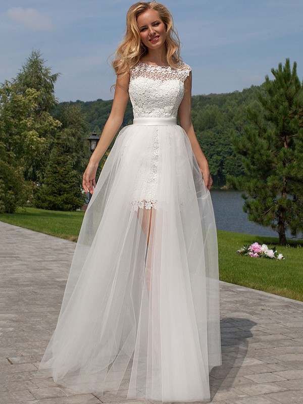 Sheath/Column Sleeveless Floor-Length Lace Scoop Tulle Wedding Dresses