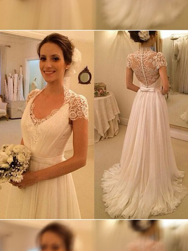 V-neck A-Line/Princess Sweep/Brush Train Sleeveless Lace Chiffon Wedding Dresses
