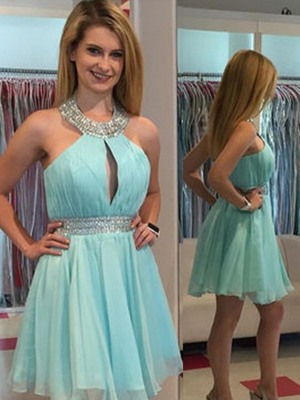 A-Line/Princess Sleeveless Halter Beading Chiffon Short/Mini Dresses