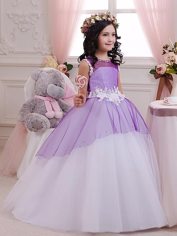 Ball Gown Jewel Sleeveless Floor-Length Applique Tulle Flower Girl Dresses