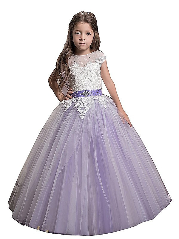 Ball Gown Sleeveless Jewel Applique Floor-Length Tulle Flower Girl Dresses