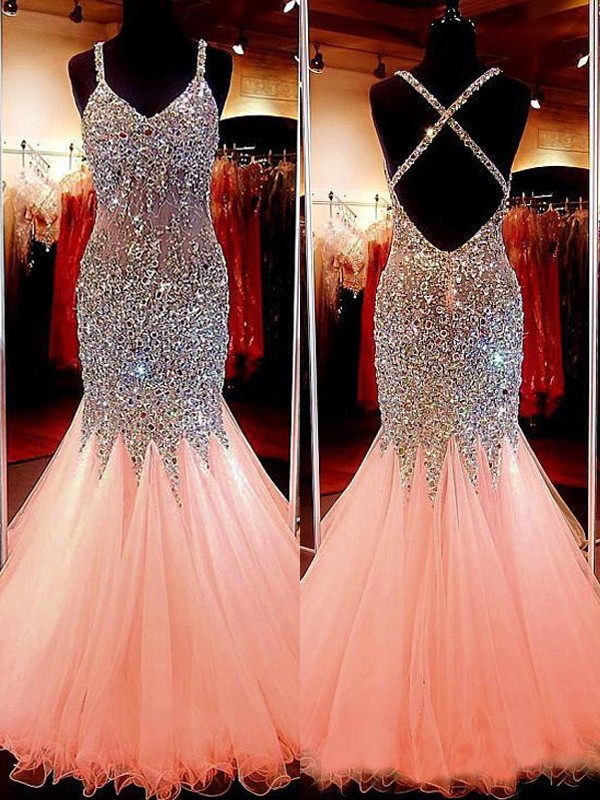 Trumpet/Mermaid V-neck Sleeveless Tulle Sequin Floor-Length Dresses
