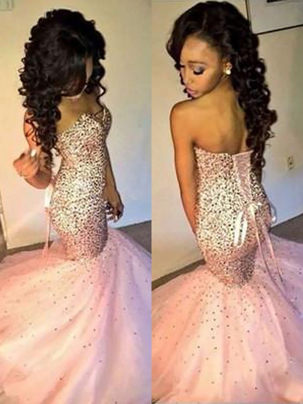 Trumpet/Mermaid Sweetheart Sleeveless Tulle Sequin Floor-Length Dresses