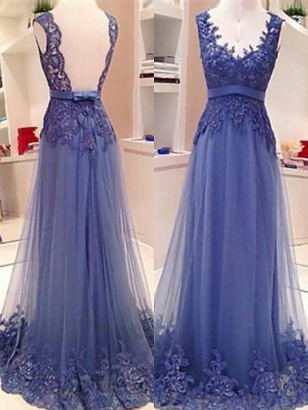 A-Line/Princess V-neck Sleeveless Tulle Applique Floor-Length Dresses