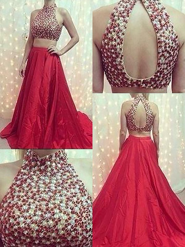 A-Line/Princess Sleeveless High Neck Satin Sweep/Brush Train Beading Two Piece Dresses