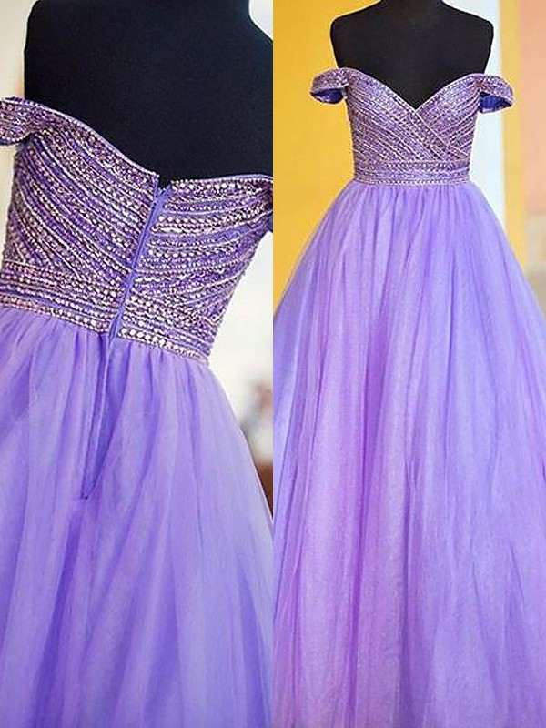 Ball Gown Sleeveless Off-the-Shoulder Beading Floor-Length Tulle Dresses