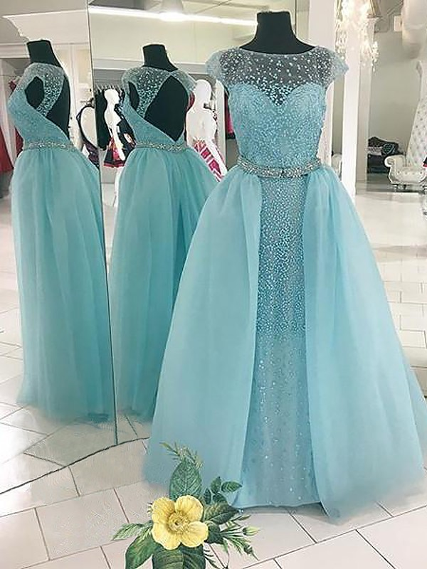 Ball Gown Bateau Beading Floor-Length Sleeveless Tulle Dresses