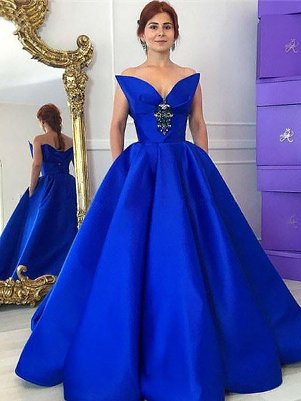Ball Gown V-neck Sleeveless Ruffles Floor-Length Satin Dresses