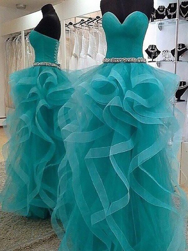 Ball Gown Sweetheart Tulle Sleeveless Beading Floor-Length Organza Dresses
