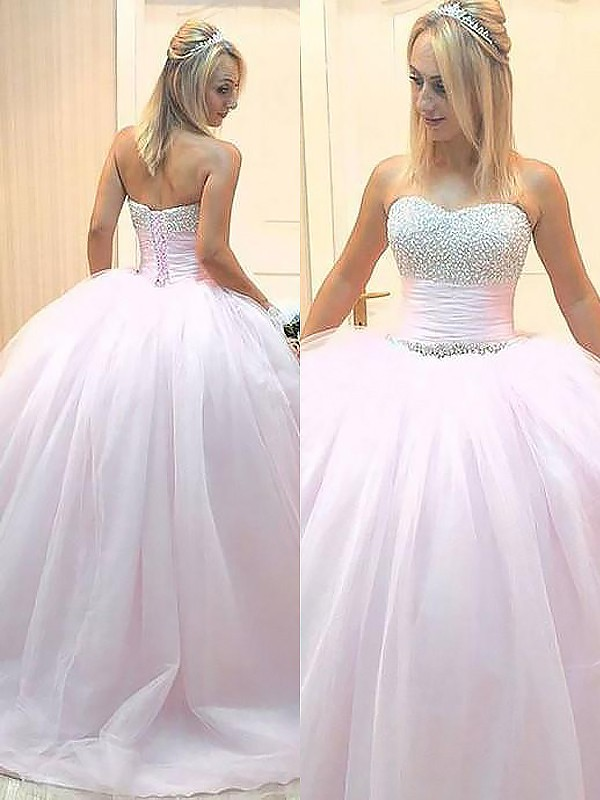 Ball Gown Sweetheart Sleeveless Beading Floor-Length Tulle Dresses