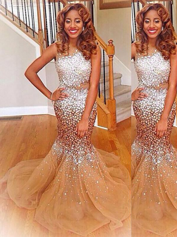Trumpet/Mermaid Bateau Sleeveless Sequin Sweep/Brush Train Tulle Dresses