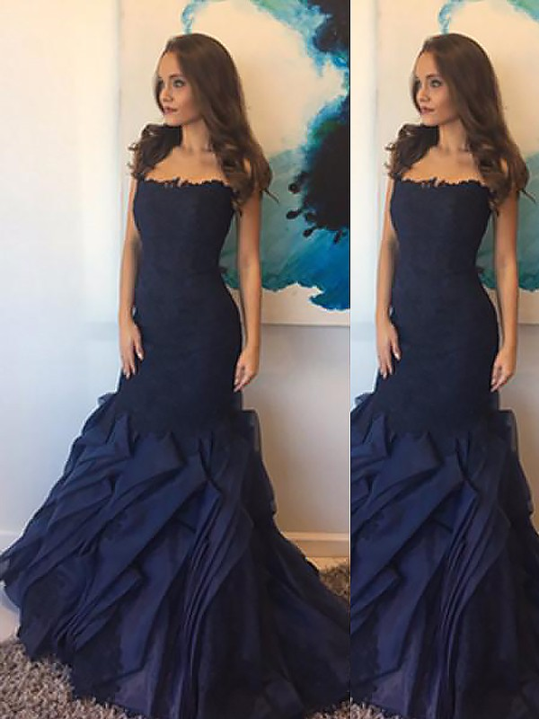 Trumpet/Mermaid Floor-Length Strapless Taffeta Lace Sleeveless Dresses