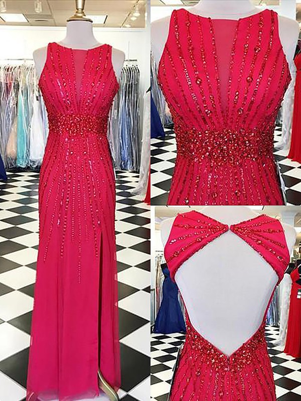 Sheath/Column Floor-Length Bateau Sleeveless Beading Chiffon Dresses