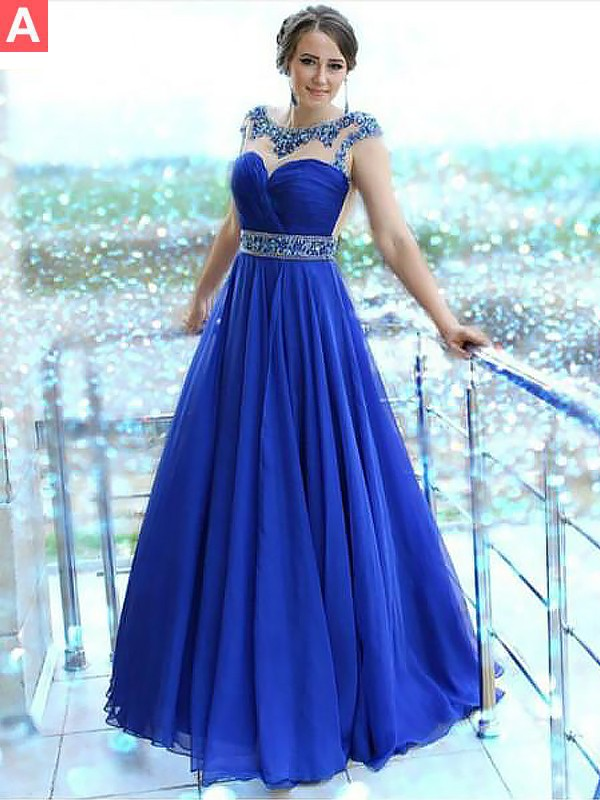 A-Line/Princess Bateau Floor-Length Sleeveless Beading Chiffon Dresses