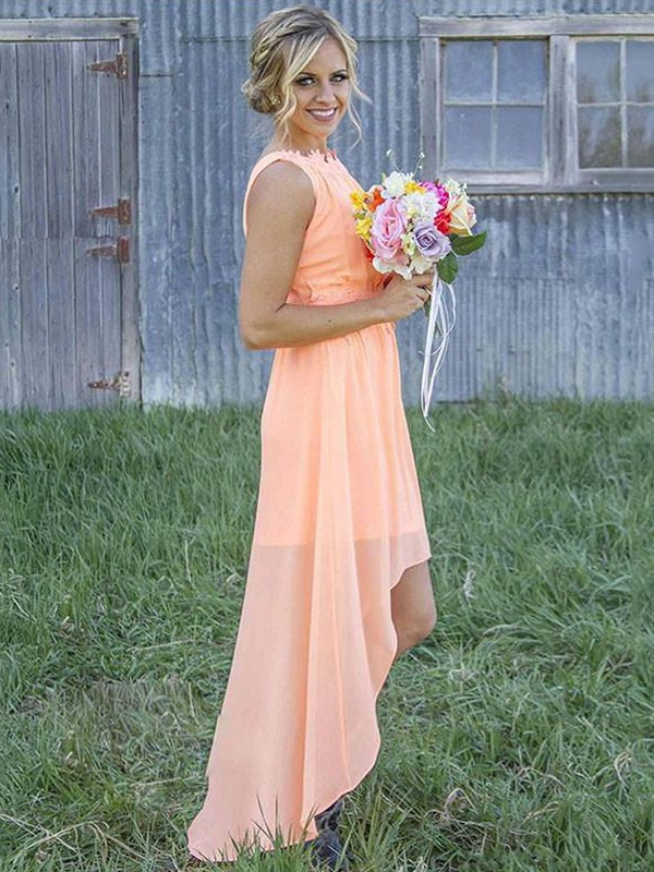 A-Line/Princess Sleeveless Scoop Asymmetrical Chiffon Bridesmaid Dresses